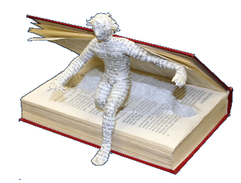 figure coming out of book